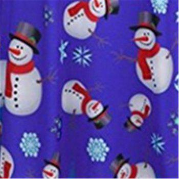 Women's Fashion Christmas Snowman Printing Long-Sleeved Dress - BLUE M