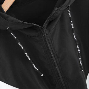 Women's Fashion Large-Size Stitching Long-Sleeved Hooded Coat - BLACK S
