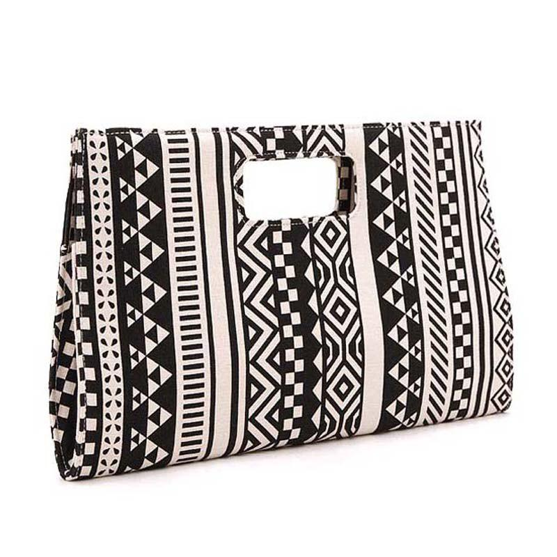 Large size Women bag black with white Geometric Canvas day clutches women Clutches Handbag - BLACK WHITE