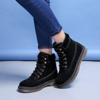 Stitching Low Heel Warm Lace Up Faux Fur Shoes - BLACK 39