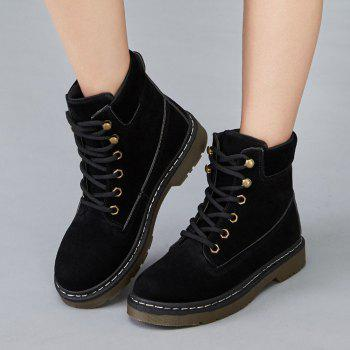 Stitching Low Heel Warm Lace Up Faux Fur Shoes - BLACK 37