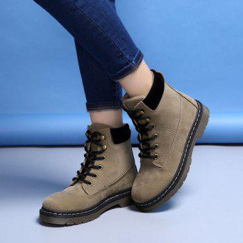 Stitching Low Heel Warm Lace Up Faux Fur Shoes - KHAKI 38