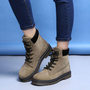 Stitching Low Heel chaud Lace Up chaussures en fausse fourrure - Kaki 35