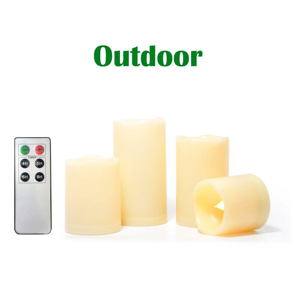 Set of 4pcs LED Candle with One Remote and Timer - IVORY COLOR 4PCS