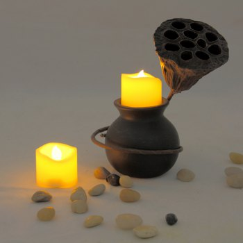 Set of 6pcs Flameless votive candles with top melted edge - IVORY COLOR 6PCS