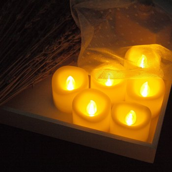 Set of 6pcs Flameless votive candles with top melted edge - IVORY COLOR IVORY COLOR
