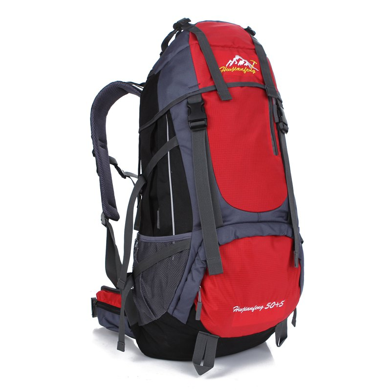 Huwaijianfeng 55L Large Space Climbing Hiking Camping Backpack - RED