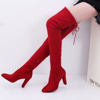 Sharp Head And Long Boots - BURGUNDY 42