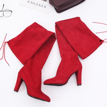 Sharp Head And Long Boots - BURGUNDY 40