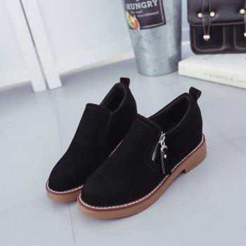 Round Head Side Zipper Low Heel Women's Shoes - BLACK BLACK