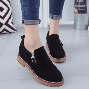 Round Head Side Zipper Low Heel Women's Shoes - BLACK 37