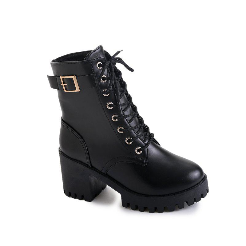 Winter New Style Wild Martin Boots - BLACK 37