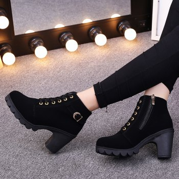 Autumn and Winter New High-Heeled Boots Cross Straps - BLACK 35