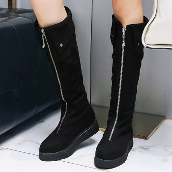 Round Flat Bottom Fashion Front Zipper High Boots - BLACK 42