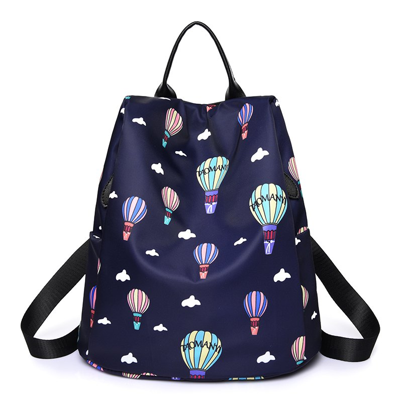 Women Nylon Fabric Backpack Fashion Printing Balloon Bags - BLUE