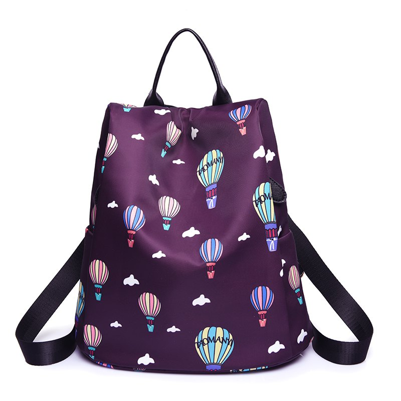 Women Nylon Fabric Backpack Fashion Printing Balloon Bags - PURPLE