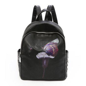 Backpack Female New Butterfly Printing Fashion Bag - BLACK BLACK