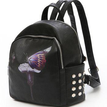 Backpack Female New Butterfly Printing Fashion Bag - BLACK