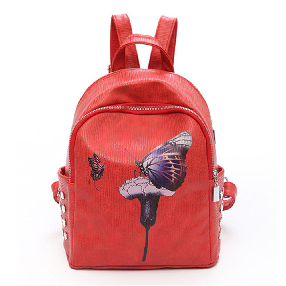 Backpack Female New Butterfly Printing Fashion Bag - RED