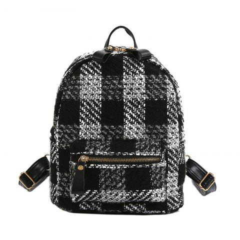 New Shoulder Bag Plaid Woof Double Back Plaid Ladies Backpack 2018 Stylish Wild Double Backpack - BLACK WHITE