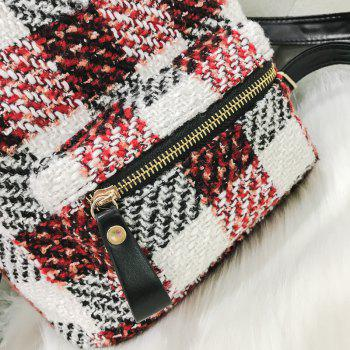 New Shoulder Bag Plaid Woof Double Back Plaid Ladies Backpack 2018 Stylish Wild Double Backpack - RED