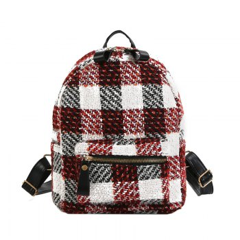 New Shoulder Bag Plaid Woof Double Back Plaid Ladies Backpack 2018 Stylish Wild Double Backpack - RED RED