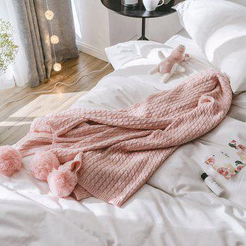 Pink All-Cotton Knit Ball Blanket - PINK PINK
