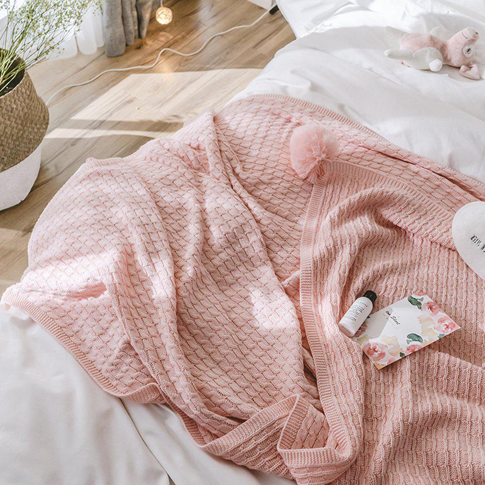 Pink All-Cotton Knit Ball Blanket - PINK 130CM X 170CM