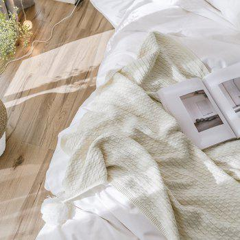 New Cotton Knit Ball Wool Casual Blanket - WHITE WHITE