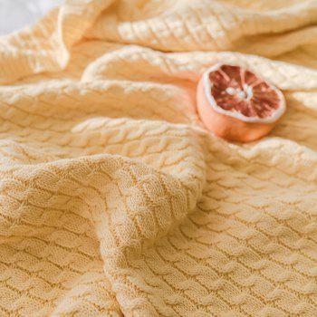 New Cotton Knit Ball Wool Casual Blanket - YELLOW YELLOW