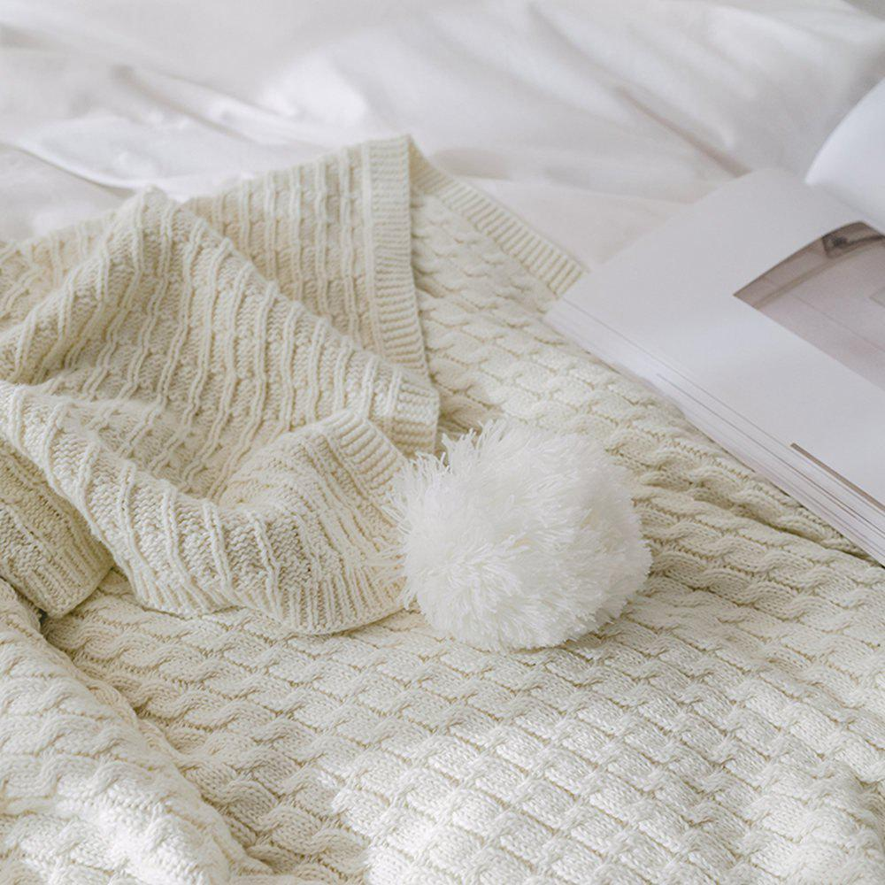 New Cotton Knit Ball Wool Casual Blanket - WHITE 130CM X 170CM
