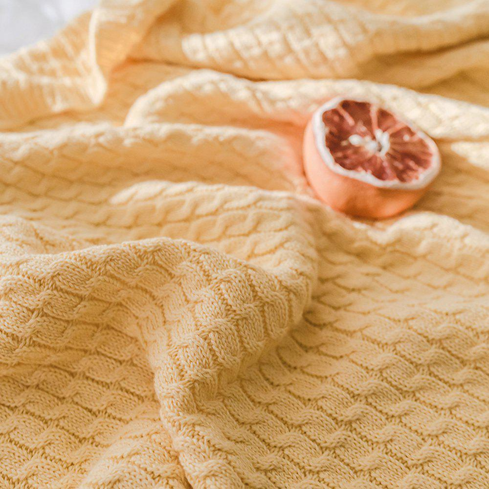 New Cotton Knit Ball Wool Casual Blanket - YELLOW 130CM X 170CM