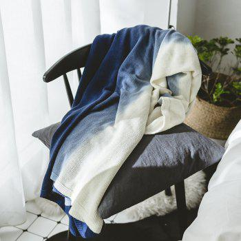 Cotton Pure Color Gradient Wool Knit Casual Blanket - BLUE BLUE