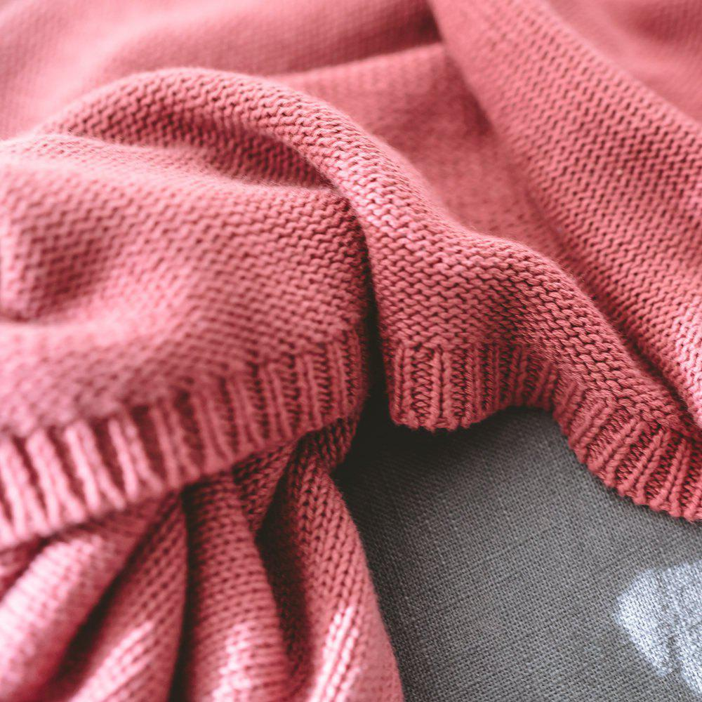 Cotton Pure Color Gradient Wool Knit Casual Blanket - RED 120CM X 180CM
