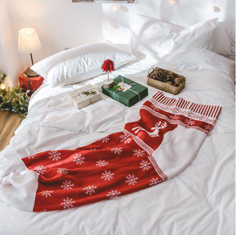 New Big Red Christmas Stockings Knit Creative Blankets - RED 50CM X 160CM