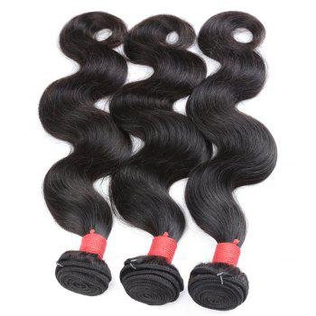 Brazilian Body Wave Virgin Human Hair Weave Exention Bunldes 3 Pieces 8 inch - 26 inch - BLACK 16INCH*16INCH*16INCH
