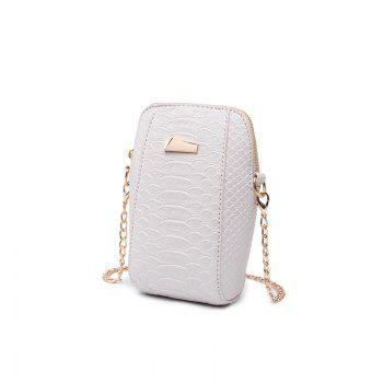 Ladies Casual Crocodile Pattern Crossbody Bag - WHITE