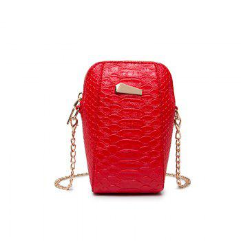 Ladies Casual Crocodile Pattern Crossbody Bag - RED RED