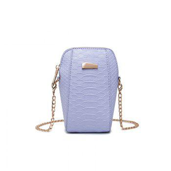 Ladies Casual Crocodile Pattern Crossbody Bag - LIGHT PURPLE LIGHT PURPLE