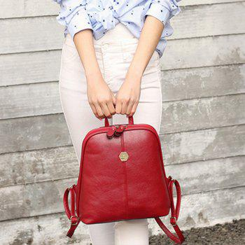 Women's Backpack Brief Style Classy All Match Zipper Bag -  RED
