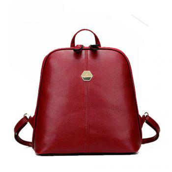 Women's Backpack Brief Style Classy All Match Zipper Bag - RED RED