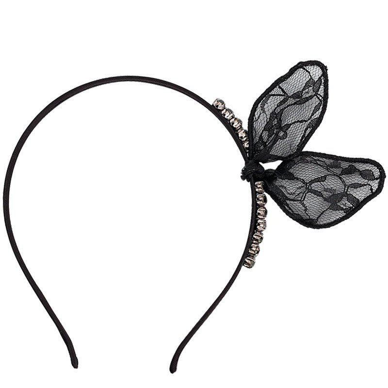 Bowknot Rabbit Ear Clip Lace  Women Hair Band - BLACK
