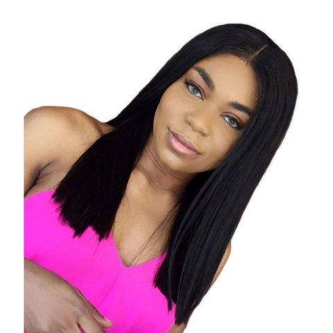 Long Center Part Natural Straight Synthetic Hair Lace Front Wigs - BLACK 16INCH