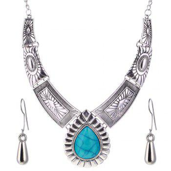 Women Vintage Jewelry Water Drop Pendant Necklace  Leaves Earrings -  SILVER