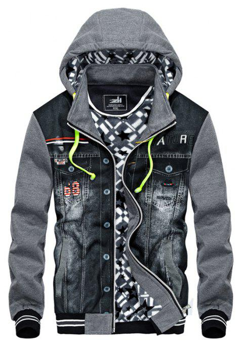 Autumn and Winter Men'S Casual Fashion Cowboy Stitching Coat Trend Plus Cashmere Thickened Hooded Coats - GRAY XL
