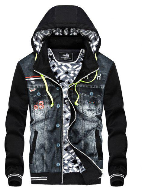 Autumn and Winter Men'S Casual Fashion Cowboy Stitching Coat Trend Plus Cashmere Thickened Hooded Coats - BLACK XL