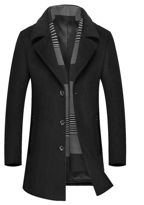 Winter Men'S Solid Color Fashion Casual Solid Color Simple Business Long Section Trench Coat Woollen overcoat - BLACK M