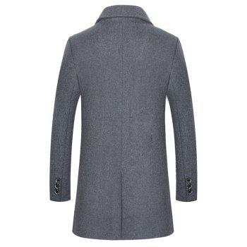 Winter Men'S Solid Color Fashion Casual Solid Color Simple Business Long Section Trench Coat Woollen overcoat - GRAY XL