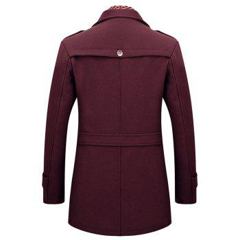 Winter Men'S Casual Fashion Zipper Solid Color Simple Business Scarf Coat Woollen overcoat - BURGUNDY L