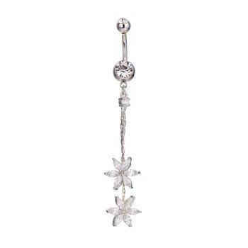 Fashion Tassels Double Petals Exquisite Zircon Navel